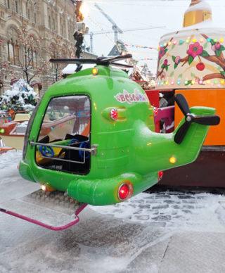 Аттракцион зеленый вертолет